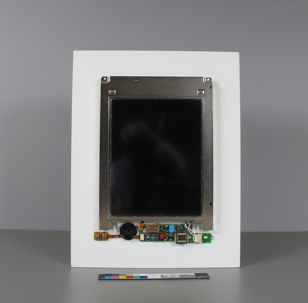 Fig. 1. Image of John F. Simon Jr.'s Color Panel (1999), an artwork that employs an artist-modified Apple Powerbook 280c laptop. (Courtesy of the ©Guggenheim Museum)